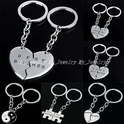 2PC Mother Daughter Best Friends Yin Yang Heart Jewelry Keyring Keyfob Keychain