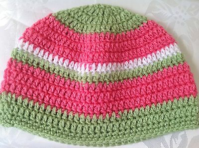 CHILDS CROCHET BEANIE in pink lime green & white  Made in WA - 1 to 2 yrs