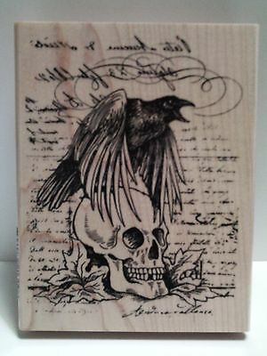"New! Stampendous ""Raven Skull"" WM Rubber Stamp"
