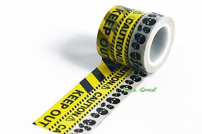 15mm x 9M Warning Alert Pattern Washi tape Keep out Caution Skull Dangerous