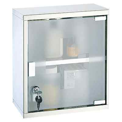 Mileno 30x12x30cm Lockable Medicine Cabinet with Polished Stainless Steel Frame
