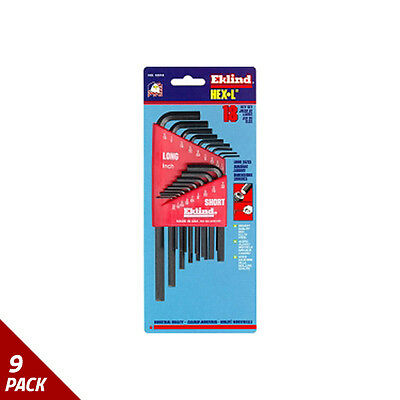 Eklind Tool Company Hex Key Set 18pc SAE Short/Long [9 Pack]