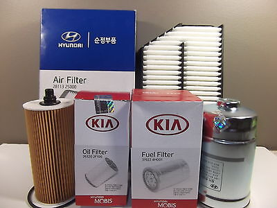 Genuine Hyundai Ix35 Suv 2.0L Crdi Diesel Filter Pack (Oil + Air + Fuel Filter)