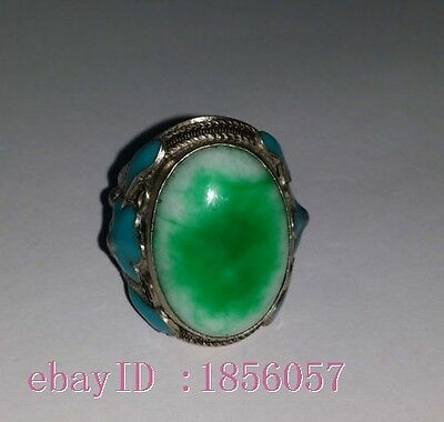Miao Silver Cloisonne Inlay Green Jade Ring