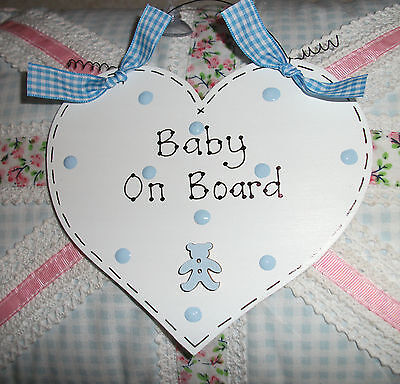 BABY ON BOARD Car Sign ~ Shabby Chic Heart & Teddy Button ~ Choose Colours