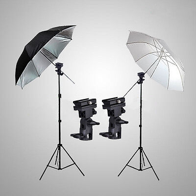 Photo Studio Flash Speedlight Umbrella Lighting Light Stand Kit + 2 Bracket B