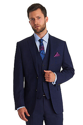 Moss 1851 Mens Navy Suit Jacket, Tailored Fit, Two Button, Wool Blazer