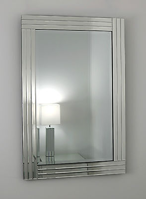 """Gracita Silver Glass Framed Rectangle Bevelled Wall Mirror 40"""" x 28"""" V Large"""