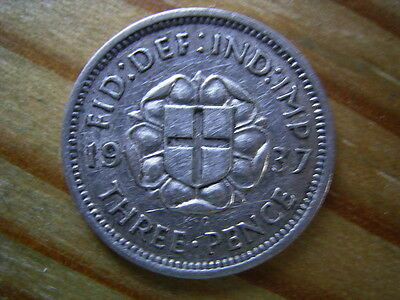 1937  george v1   silver  3d threepence