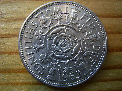 1965   elizabeth 11   2/- shillings-florin  collectable