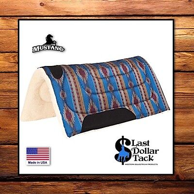Mustang Mesa Blue Aztec Design ~ Durable Herculon & Fleece Western Saddle Pad