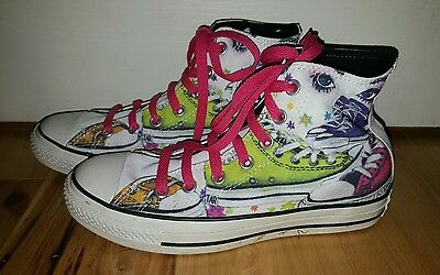 7efb78d71fa CONVERSE CHUCK TAYLOR ALL STAR shoe print eyes HIGH-TOP Sneakers Women s 7  face