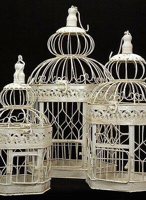 Victorian Bird Cages Cream White Set of 3 for for Yard Garden Patio Lawn Decor