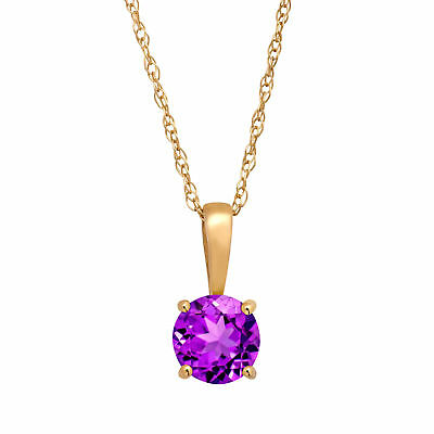 """3/8 ct Natural Round-Cut Amethyst Pendant Necklace in 10K Yellow Gold, 16"""""""