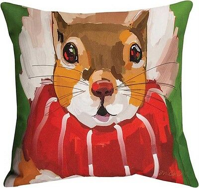 """Decorative Pillows - North Woods Squirrel Pillow - 18"""" Square - Indoor Outdoor"""