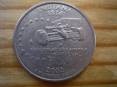 """2002p  usa state  quarter """"indiana"""" dollar coin collectable"""