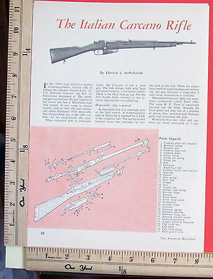 1961 THE ITALIAN CARCANO RIFLE Carbine 2-Pg EXPLODED VIEWS Magazine Article 6974