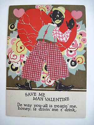Great Vintage Art Deco Black Americana Valentine Man Wearing Real Cloth Pants *