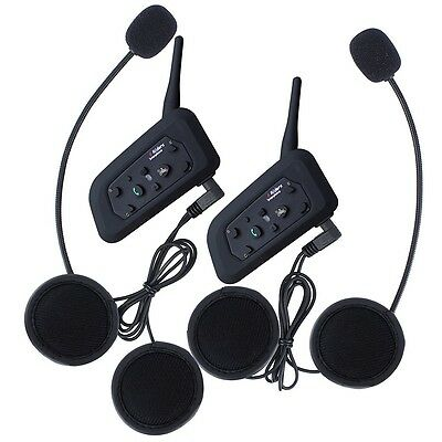 2× BT Interphone Bluetooth Casco De La Moto Multi Intercomunicador 6 Jinete