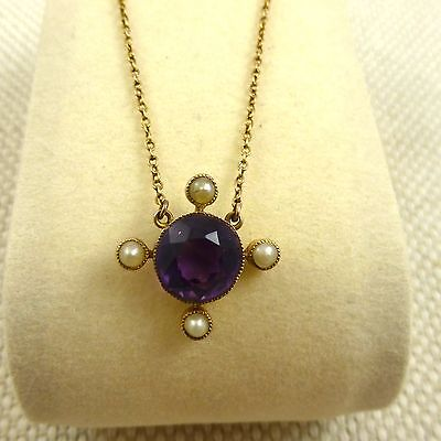 Fine Antique Edwardian Amethyst And Pearl Pendant
