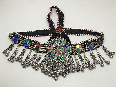 Vintage Afghan Ethnic Kuchi Tribal Jingle Alpaca Silver Glass Headdress, CN125