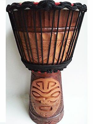 "Pro Quality Mahogany Wood Bongo Djembe Drum Tribal Face Deep Carved 50Cm 9.5""hea"