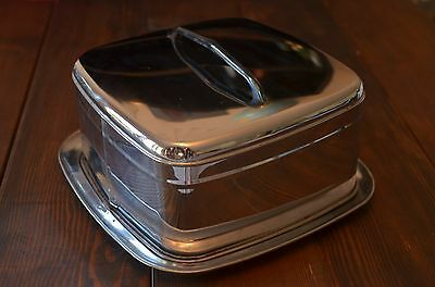 Vintage Mid Century Chrome Square Cake Carrier