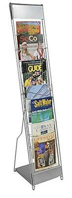 Displays2go Portable Literature Stand with 10 Pockets, Steel Silver (NCYBRCHSLV)