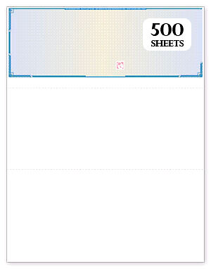 Top Blank High Security Checks 500 sheets- Blue Prismatic Refill Form # 1000