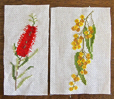HAND MADE aida cloth CROSS STITCH art AUSTRALIAN trees WATTLE bottle brush BUSH