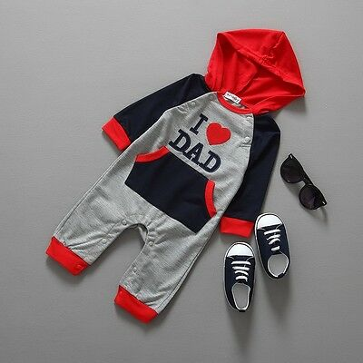 I Love Dad Baby Boy Clothes Long Sleeve Hooded Romper Jumpsuit Bodysuit 6-24M