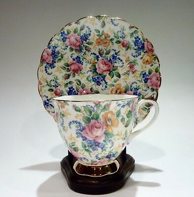 Chintz ~ Imperial Fine Bone China  - Cup, Saucer  Gold Trim  - Made In England