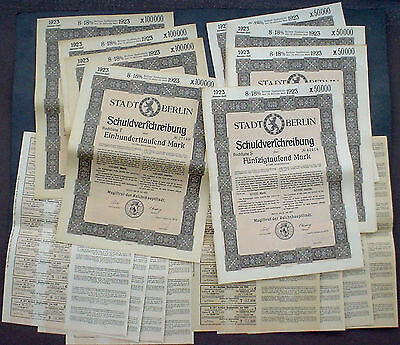 8 x German Government, City of Berlin 8-18% Bonds 1923 uncancelled + coupons