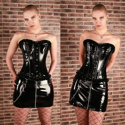 BURLESKA Mercy Lack-Mini-Rock Lackrock PVC Vinyl Mini Skirt HOT GOTHIC CLUBWEAR
