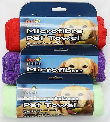 Pet Towel Microfibre Super Absorbent 40x70cm Purple/Red/Green Dog/Cat!