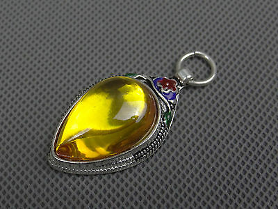 CHINA SILVER OLD INLAY(golden)ZIRCON WONDERFUL CLOISONNE HAND CARVED PENDANT1117