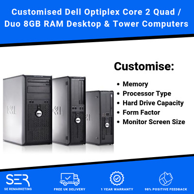 Customised Dell Optiplex Core 2 Quad or Core 2 Duo Desktop / Tower PC Computers