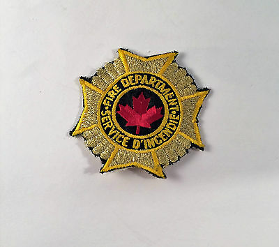 Vintage Unknown Canadian Fire Department Gold Patch Fire Fighter Patch Authentic