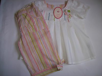BNWT Girls Cropped Trousers and Cotton Top Summer Outfit Ages 2-3, 3-4 & 5-6