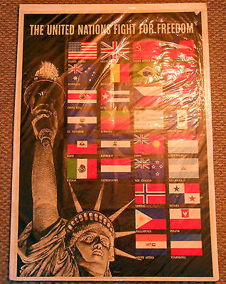 "Original WW2 US Poster ""The United Nations Fight For Freedom"".  Dated 1942."