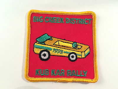 1993 Kub Kar Rally Patch from Big Creek Valley Cubs Scouts Red Gold Green Square