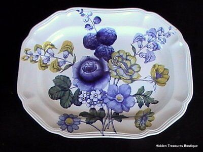 """Spode Blue Flowers S3369 14"""" Oval Platter Blue/Yellow Floral Scalloped Edges"""