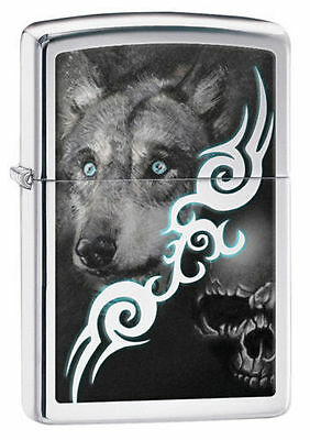 Zippo Windproof Lighter With Wolf and Skull,  28872, New In Box