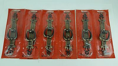 "(6) Vintage NOS Amerock Madeira Cabinet 8"" Back Plate Drawer Pulls Brass Finish"