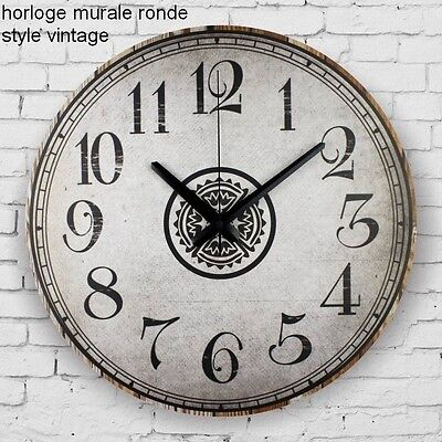horloge murale ronde style vintage eur 24 22 picclick fr. Black Bedroom Furniture Sets. Home Design Ideas