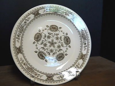 Chop Plate Royal China Vendome Pattern Brown On Off White Vintage