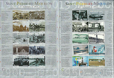 Nice Saint Pierre And Miquelon Pictures Of Century 2 Complete Sheets Mnh 2000