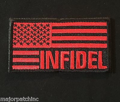 8d18696b2b09 American Flag Infidel Usa Morale Black Ops Red Velcro® Brand Fastener Patch