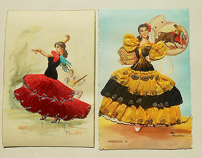 2 Embroidered Spanish Postcards of Flamenco Dancers in Native Dress- VG cond.