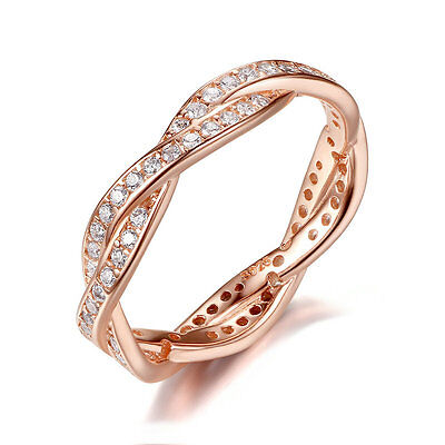 925 Sterling Silver Twist Of Fate Ring Rose 14K Gold Plated Clear CZ Women Band